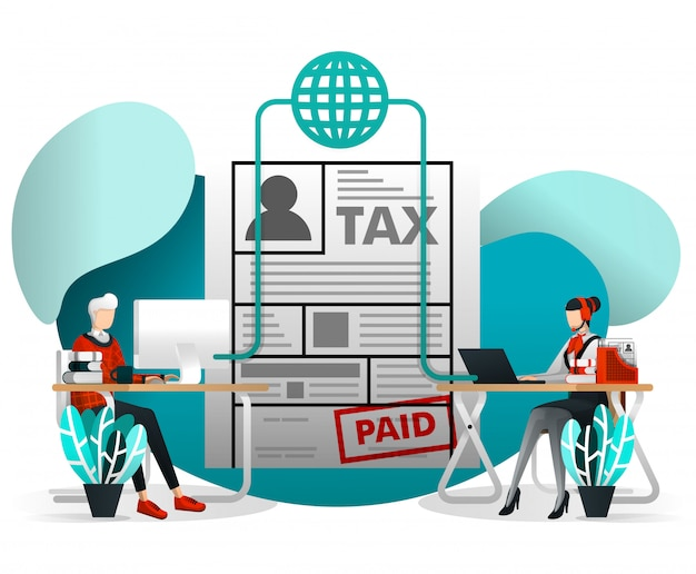 Online tax form filing with flat cartoon