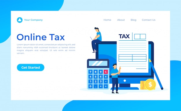 Online tax form landing page
