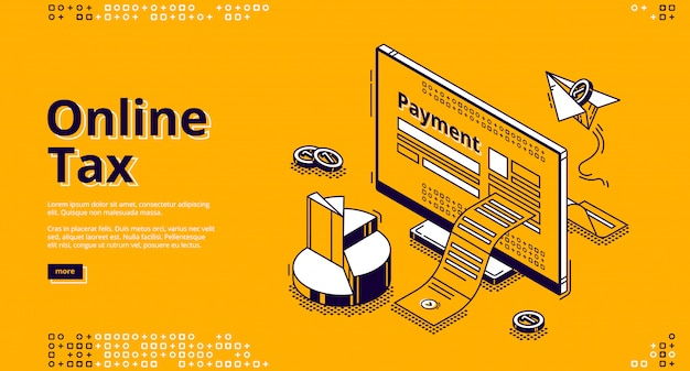 Online tax isometric  web banner