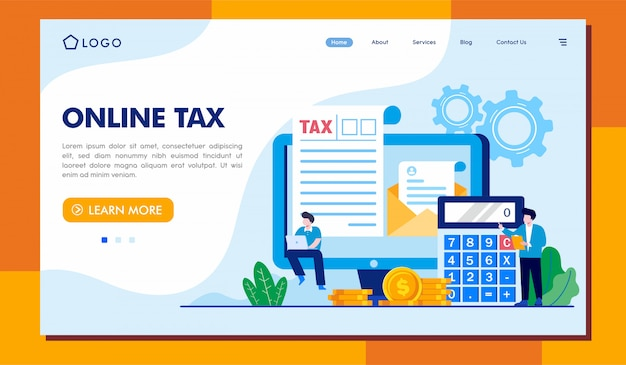 Online tax landing page website illustration