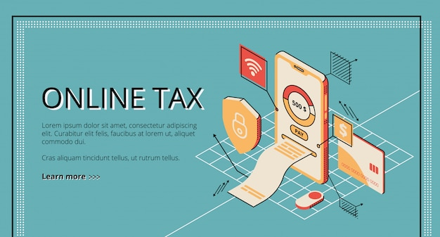 Online tax. large bill for payment coming out of smartphone screen.