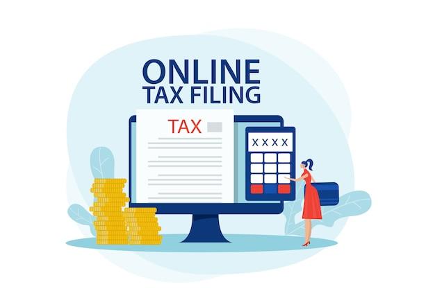 온라인 세금 납부 개념. 세금 서비스 웹 사이트의 특수 양식을 사용하여 세금을 납부하는 여성. 평면 그림