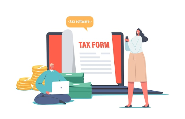Концепция онлайн-уплаты налогов. молодая женщина, заполняющая заявление на налоговую форму. человек с ноутбуком сделайте электронную начинку. крошечные символы расчета платежа или финансового отчета. мультфильм люди векторные иллюстрации
