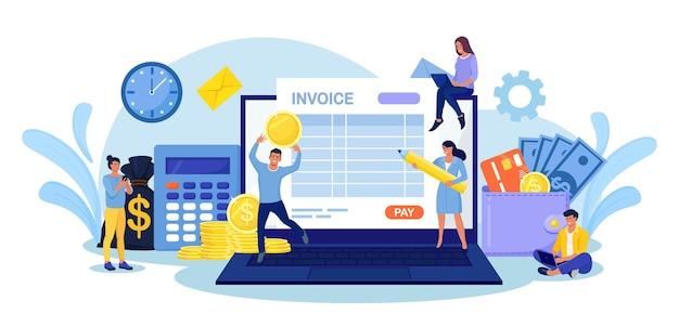 온라인 세금 납부. 세금 양식 신청서를 작성하는 사람들. 지불 또는 재무 보고서를 계산하는 노트북이 있는 작은 문자. 인보이스 전자결제, 전자영수증, 온라인뱅킹