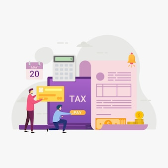 Online tax payment service through computers illustration