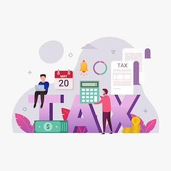Online tax payment service with tiny people illustration