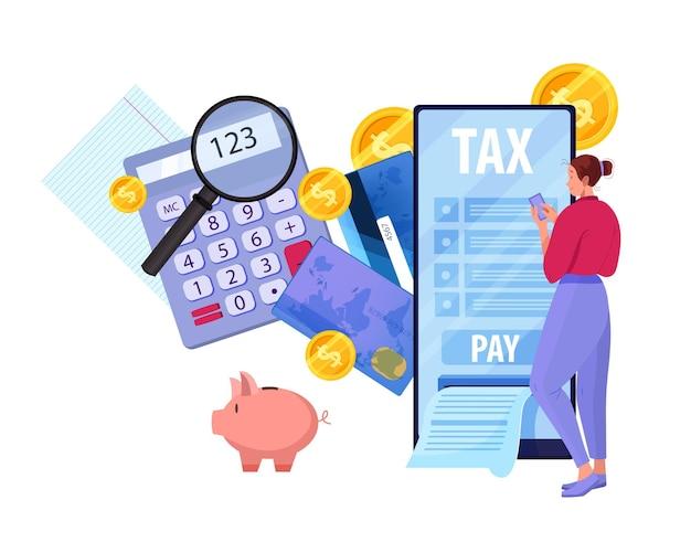급여를 작성하는 젊은 여자와 온라인 세금 보고서 및 지불 개념