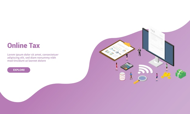 Online tax report isometric for website template or landing homepage banner
