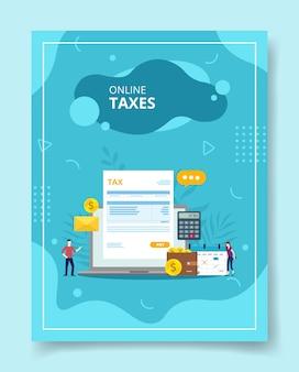 バナーのテンプレートのための画面表示計算機ウォレットカレンダーのラップトップ請求書税の周りに立っている人々のオンライン税チラシ本カバー