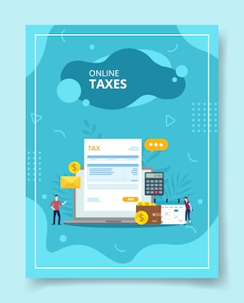 Online taxes people standing around laptop bill tax on screen display calculator wallet calendar for template of banners flyer books cover