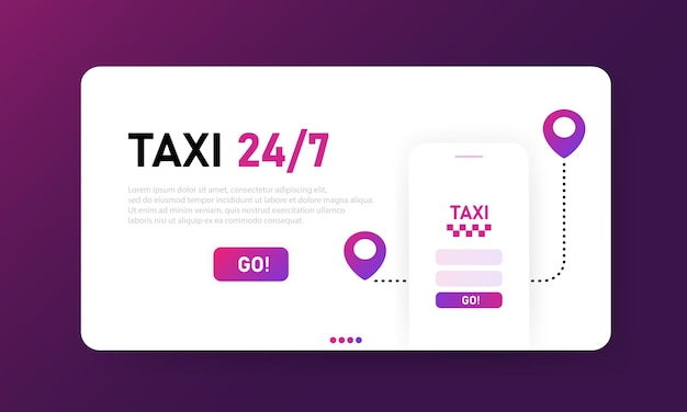 온라인 택시 24 7 방문 페이지. 도시 교통 서비스 모바일 앱. 배너 디자인, ui 웹 레이아웃. 평면 그림입니다. 방문 페이지 템플릿입니다.