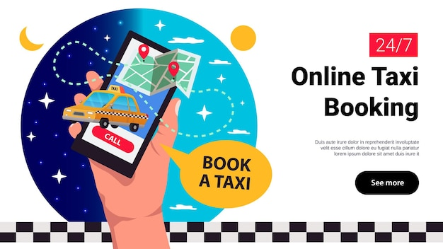 Online taxi booking banner illustration