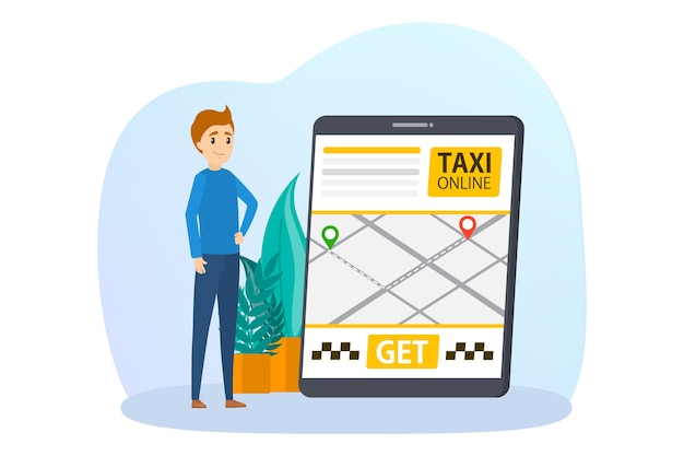 Online taxi booking illustration