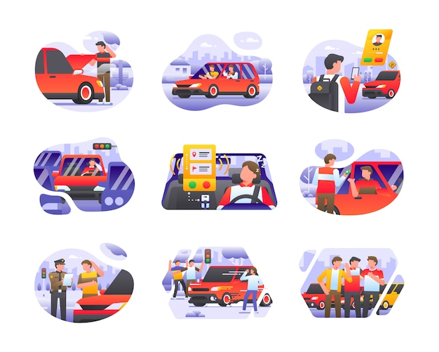 Online taxi car transportation illustration collection