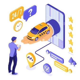 Изометрические концепция онлайн такси. рука от телефона с автомобилем такси. пассажирский и маршрутный штифт.