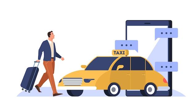 オンラインタクシーサービスのコンセプト。携帯電話アプリで荷物の本の車を持つ男。都市交通。図