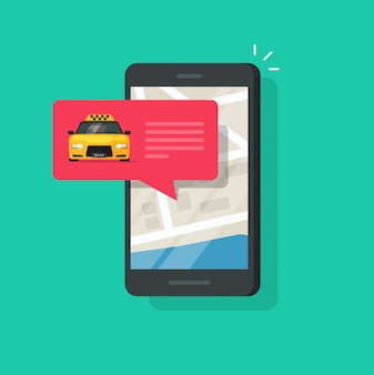 Online taxi service on mobile phone or cellphone vector illustration isolated flat carton