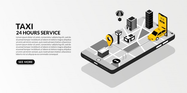 Online taxi service with the connected metropolis in isometric design