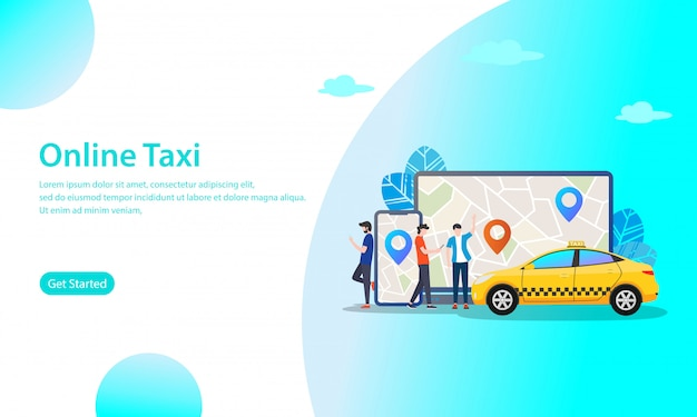 Online taxi vector illustration concept