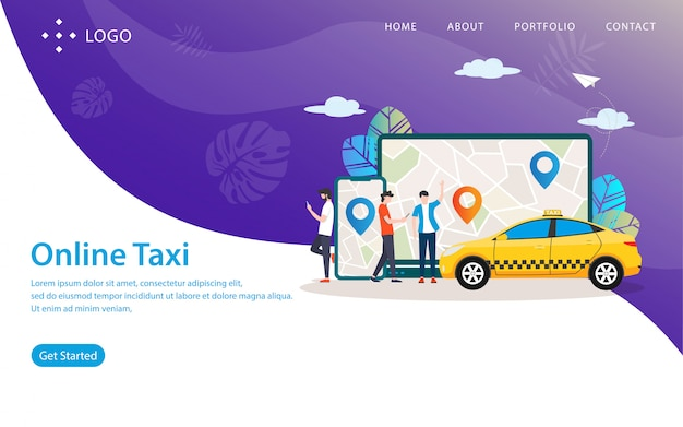 Online taxi, website vector illustration