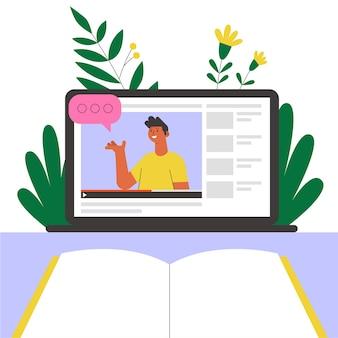 노트북 화면에 온라인 교사. 온라인 교육 또는 웹 세미나 그림.