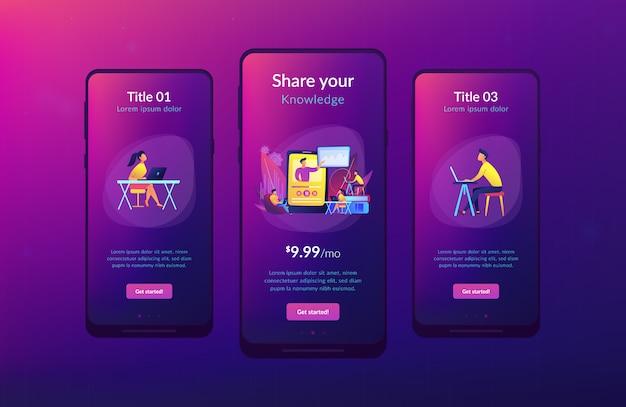 온라인 교육 앱 인터페이스 템플릿.