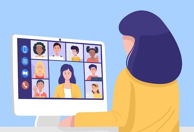 Концепция онлайн-обучения, учитель дает онлайн-урок на веб-камеру из дома. вектор
