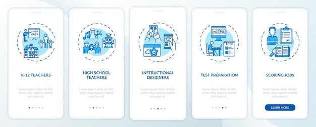 概念を備えたモバイルアプリページ画面のオンボーディングオンライン教育ジョブタイプ。高校の教師は、5つのステップのグラフィックの指示をウォークスルーします。 rgbカラーイラスト付きのuiテンプレート