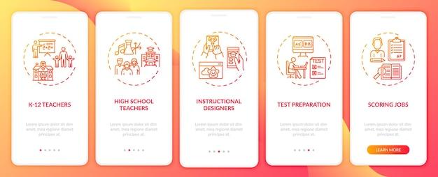 概念を備えたモバイルアプリページ画面のオンボーディングオンライン教育ジョブタイプ。インストラクショナルデザイナーは、rgbカラーイラストを使用した5ステップのuiテンプレートをウォークスルーします