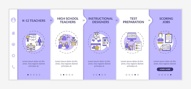 Online teaching jobs types onboarding  template. test preparation and scoring job process. responsive mobile website with icons. webpage walkthrough step screens. rgb color concept