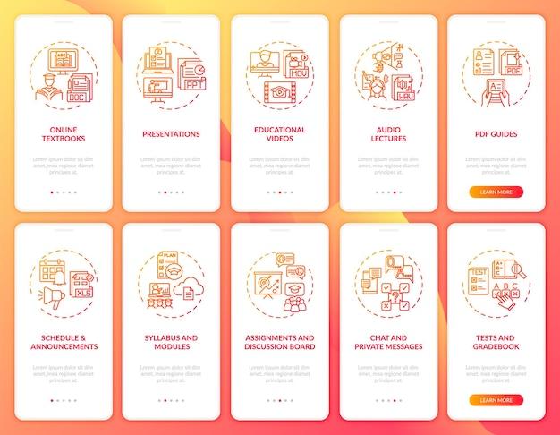 コンセプトが設定されたオンライン教育オンボーディングモバイルアプリページ画面。オンライン英語教育チャレンジウォークスルーrgbカラーイラスト付きの10ステップuiテンプレート