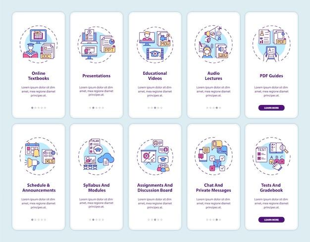 コンセプトが設定されたオンライン教育オンボーディングモバイルアプリページ画面。オンライン教育デジタルリソースのウォークスルー10ステップ。 rgbカラーのuiテンプレート