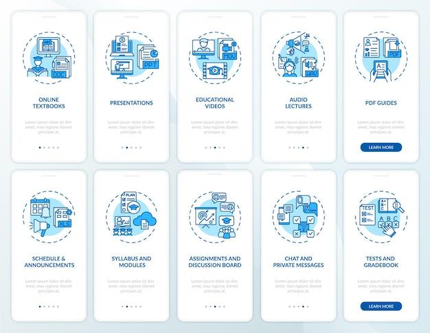 コンセプトが設定されたオンライン教育オンボーディングモバイルアプリページ画面。オンライン教育のヒントチュートリアル10ステップのグラフィックの説明。 rgbカラーイラスト付きのuiテンプレート