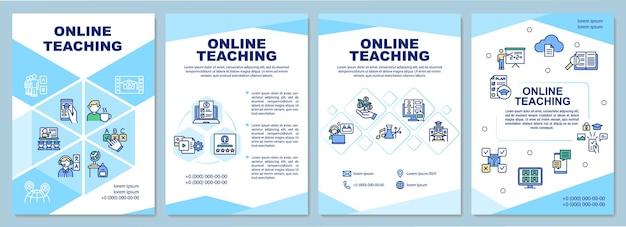 온라인 교육 템플릿. 직관적 인 코스 구조. 전단지, 소책자, 전단지 인쇄, 선형 아이콘이있는 표지 디자인. 엘