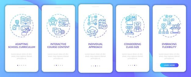 コンセプトを備えたモバイルアプリページ画面のオンボーディングに関するオンライン教育のヒント。クラスサイズのウォークスルーを5つのステップで検討します。 rgbカラーのuiテンプレート