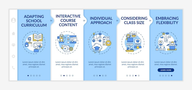 Online teaching tips onboarding  template. adapting school curriculum and interactive course content. responsive mobile website with icons. webpage walkthrough step screens. rgb color concept