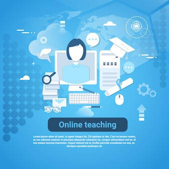 Online teaching web banner with copy space on blue background