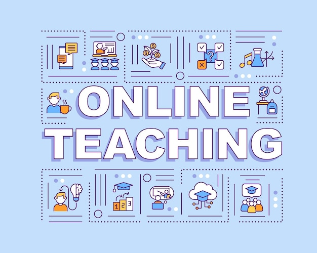 Online teaching word concepts banner. distance learning benefits. intuitive structure. infographics with linear icons on blue background. isolated typography.  outline color illustration