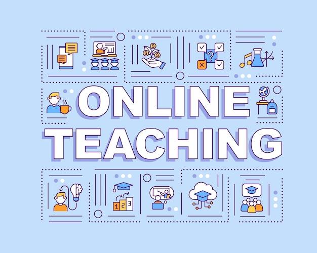オンライン教育単語の概念のバナー。遠隔教育のメリット。直感的な構造。青の背景に線形アイコンとインフォグラフィック。孤立したタイポグラフィ。アウトラインカラーイラスト