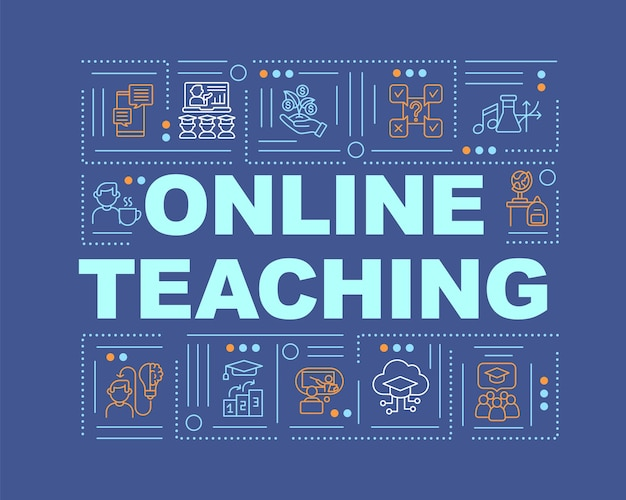 Online teaching word concepts banner. distance learning benefits. online tutors. infographics with linear icons on blue background. isolated typography.  outline rgb color illustration