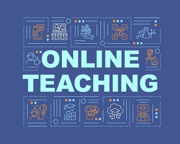 オンライン教育単語の概念のバナー。遠隔教育のメリット。オンライン家庭教師。青の背景に線形アイコンとインフォグラフィック。孤立したタイポグラフィ。アウトラインrgbカラーイラスト