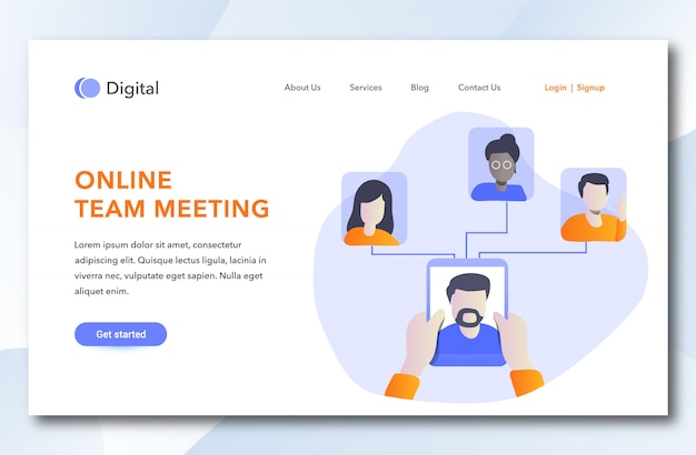 Online team meeting landing page template