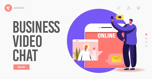 Online teamwork landing page template. tiny business characters speaking via video call with remote colleagues on briefing, webcam conference on huge smartphone. cartoon people vector illustration