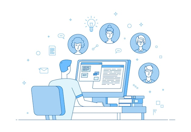 Online teamwork. video conference, corporate internet communication. man colleagues computer call. family or friend chat, people distance communicate vector illustration. communication online teamwork