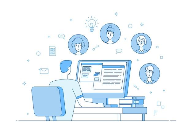 オンラインチームワーク。ビデオ会議、企業のインターネット通信。男性の同僚のコンピューター呼び出し。家族や友人のチャット、人々の距離はベクトルイラストを伝えます。コミュニケーションオンラインチームワーク