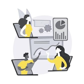オンライン技術は抽象的な概念の図を話します。