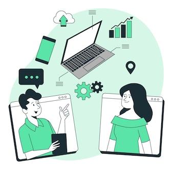 Иллюстрация концепции онлайн-технических переговоров