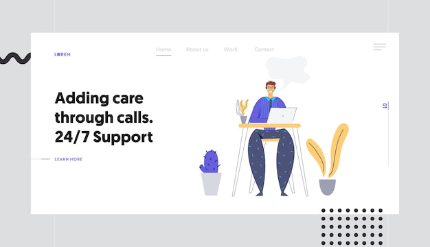 Online technical support 24/7 concept landing page with man character consulting client via headset. online assistance, male help line call center operator website, banner.
