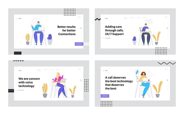 Техническая поддержка в интернете 247 концептуальных посадочных страниц с мужчиной и женщиной