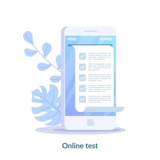 オンラインテストの概念。スマートフォンのコンピュータークイズフォーム。デジタル試験のアンケート結果をテストするためのオンラインリスト